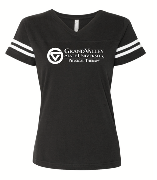 Women's Football V-Neck Fine Jersey Tee - 3537