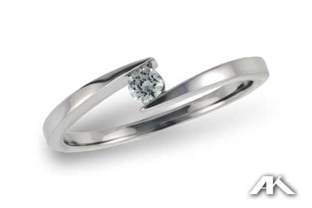 Diamond Ring in 14K White Gold .09ct TDW