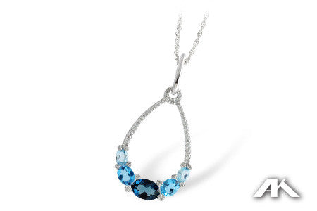Blue Topaz and Diamond Necklace in 14K White Gold