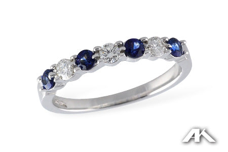 White Gold Diamond and Sapphire Band