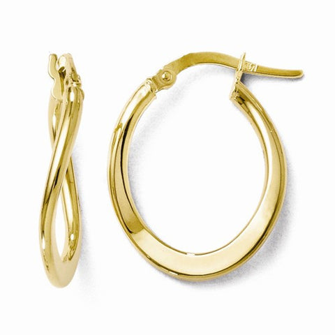 Ladies 10K Yellow Gold Polished Hinged Hoop
