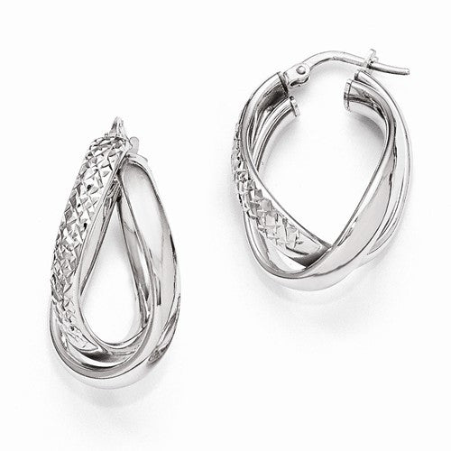 Ladies Sterling Silver Polished and Texured Fancy Earrings
