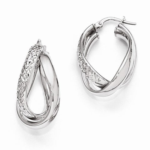 Ladies Sterling Silver Polished and Textured Fancy Earrings