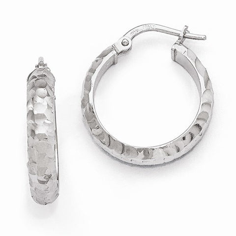 Ladies Sterling Silver Radiant Essence Rhodium-Plated Hinged Hoop Earrings