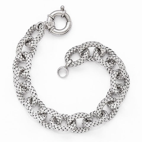 Ladies Sterling Silver Polished Texured Link Bracelet 8''