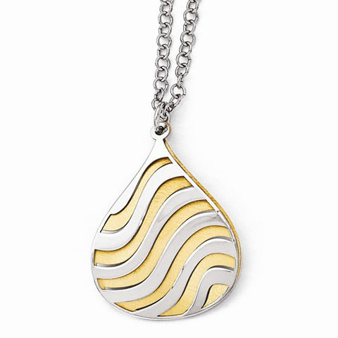 Ladies sterling Silver Gold-Plated Matte Finish Necklace 16'' with 2'' Extender