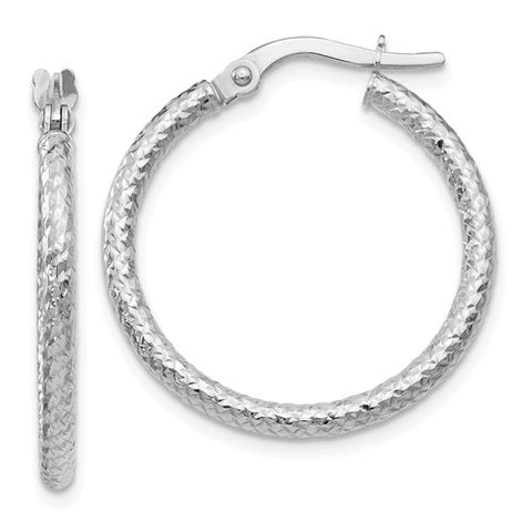 10K White Gold Textured Hoops