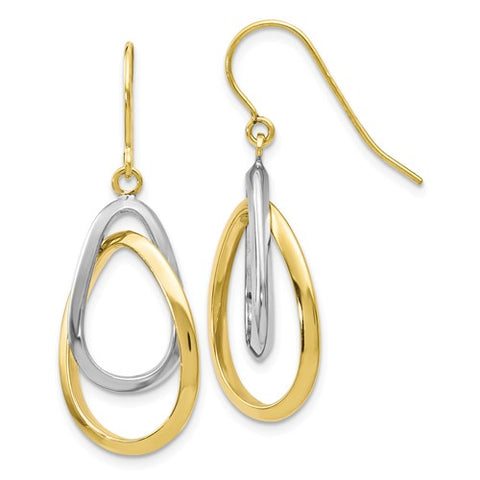 10K Two-Tone Dangle Earrings
