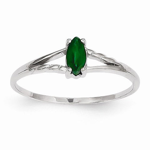 Marquise Birthstone Ring Emerald in 14K White Gold
