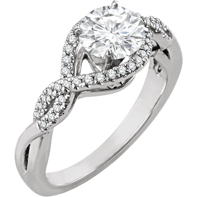 Diamond Twisted Band Engagement Ring with 0.47ct Center Diamond and Accent Diamonds