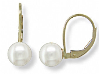 7mm ''A'' Akoya Pearl Leaverback Earrings in 14K Yellow Gold