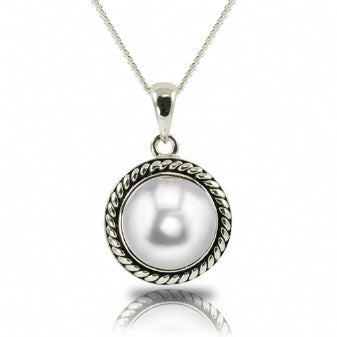 Sterling Silver 9-10mm Button Pearl Necklace