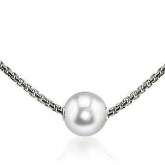9-10 White Fresh Water Pearl Solitaire Necklace with 18'' Sterling Silver
