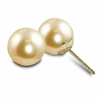 9-10mm Fresh Water Pearls Earrings in 14K Yellow Gold. Color-Peach