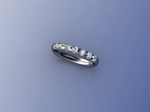 West & Company 7 Stone Wedding Band Ring in Palladium