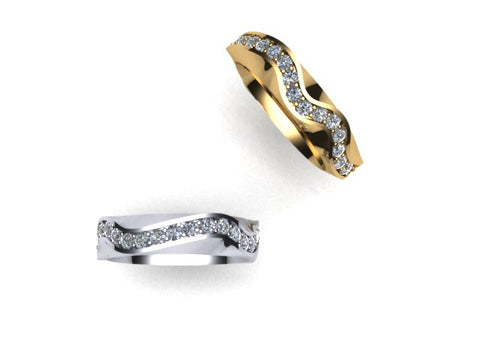 West & Company Signature Series Diamond Wave Wedding Band Ring in Yellow Gold