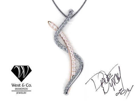 West & Co. Signature Series Natural Fancy Pink Diamond and White Diamond Pendant by David West Nycht