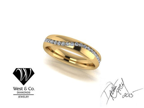 West & Company Signature Series Diamond and Yellow Gold Gents Wedding Band Ring