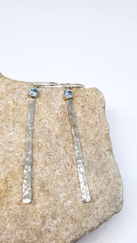 Bezel Set Blue Topaz Earrings By Martha