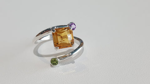 Sterling Silver Multi-Gem Bypass Ring by Martha