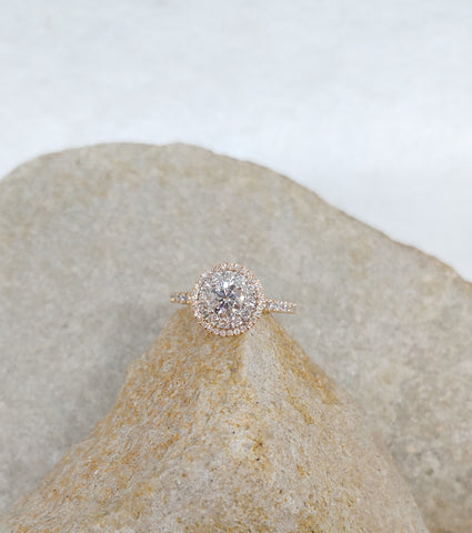 14K Rose and White Gold Double Halo Engagement Ring