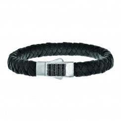 Black Leather Weave Bracelet with Black Sapphire Square Center by P. Gavriel