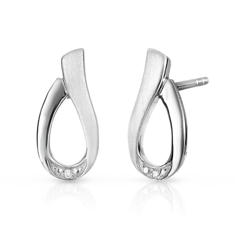Ladies Earring with Diamonds in Sterling Silver