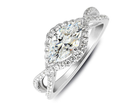 18K White Gold East-West Set Center Stone with a Criss Cross Infinity Design Engagement Ring