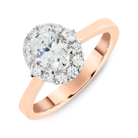 18K Rose Gold Engagement Ring with 18K White Gold Oval Halo