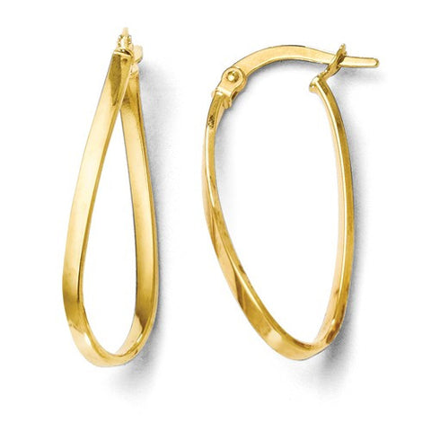 14K Yellow Gold Polished Twist Hoop Earring