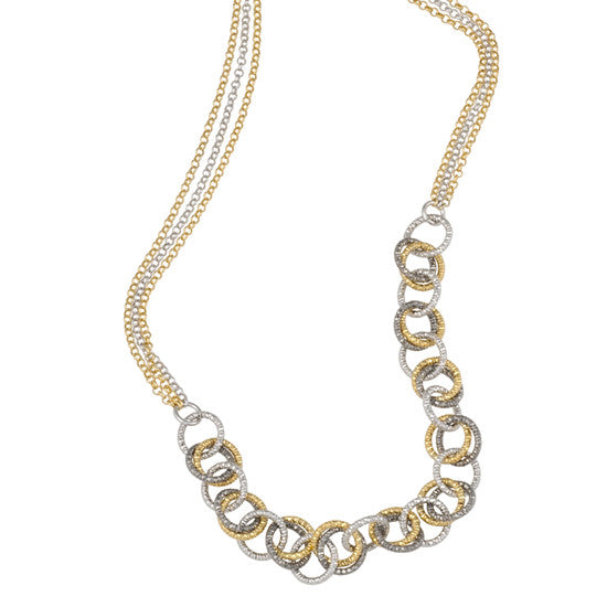 Fredric Duclos Tricolor Affair Necklace in Sterling Silver