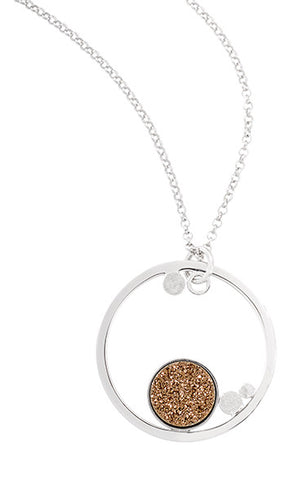 Sterling Silver Golden Drusy Circle Pendant