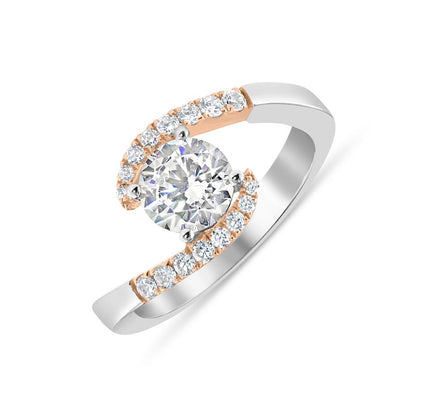 18K White and Rose Gold Two Tone Bypass Engagement Ring