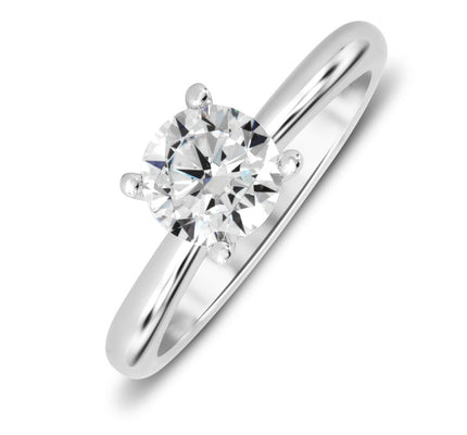 18K White Gold Knot Design Solitaire Engagement Ring