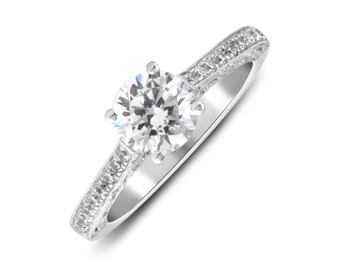 18K White Gold Beaded Design Engagement Ring