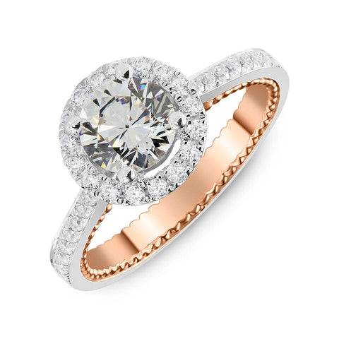 18K White and Rose Gold Engagement Ring with Surprise Diamonds