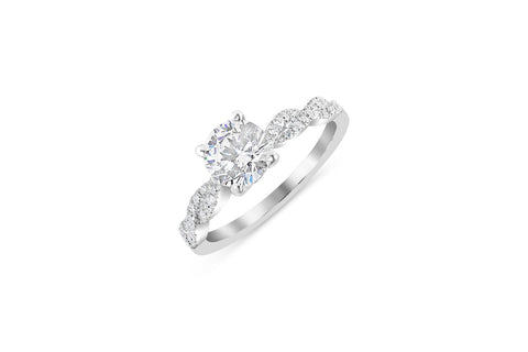 18K White Gold Diamond Infinity Twist Design Engagement Ring