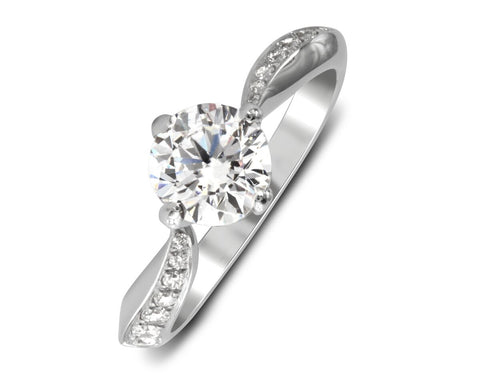 18K White Gold Knife Edge Diamond Bypass Engagement Ring