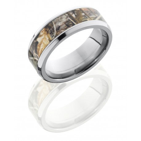 Lashbrook Titanium 8mm Flat Band with Beveled Edges and 5mm Realtree Max4 Camo inlay
