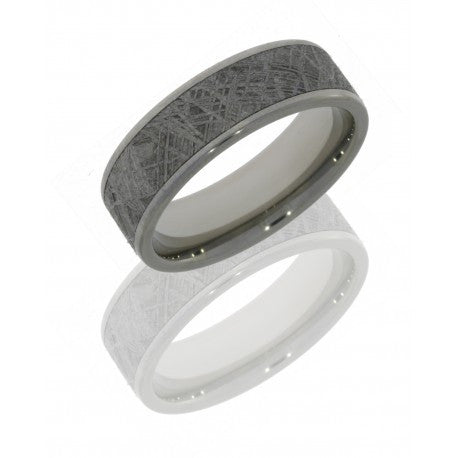 Titanium Men's Wedding Band with Meterorite Inlay