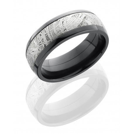 Zirconium Domed Band with 5mm Meteorite inlay Men's Wedding Band
