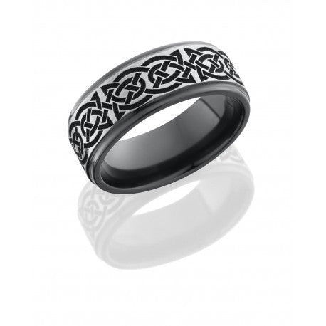Lashbrook Zirconium 8mm Flat Band with Grooved Edges and Laser Carved Celtic Pattern