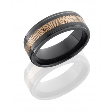 Lashbrook Zirconium 8mm Flat Band with Grooved Edges and 3mm 14K Rose Gold and Shakudo Mokume inlay