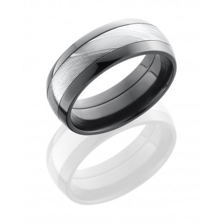 Lashbrook Zirconium 8mm Domed Band with 4mm Damascus Steel inlay