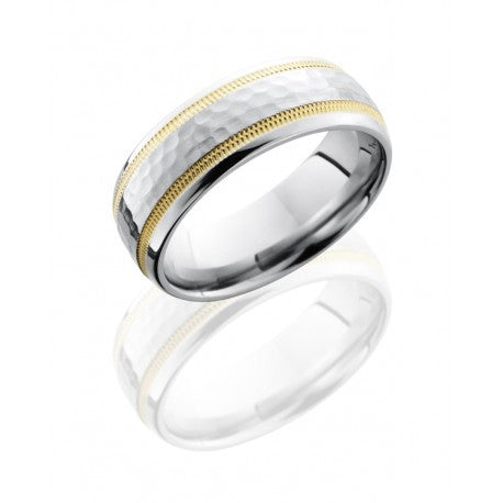Lashbrook Cobalt Chrome 7mm Domed Band with 2mm Milgrained 14K Yellow Gold inlay