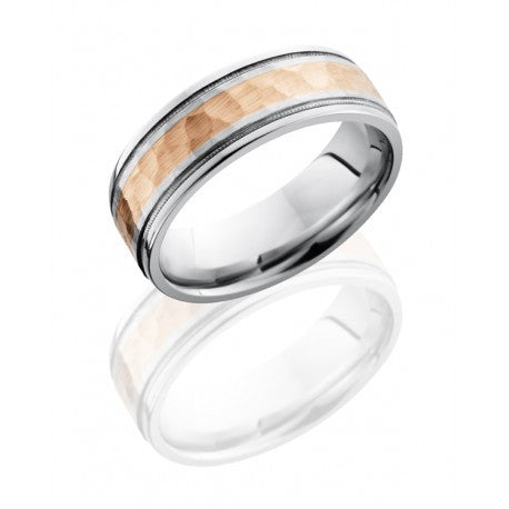 Lashbrook Cobalt Chrome 7.5mm Flat Band with Grooved Edges; Milgrain; and 3mm 14K Rose Gold inlay
