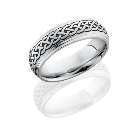 Lashbrook Cobalt Chrome 7mm Domed Band with Grooved Edges and Laser Carved Celtic Pattern