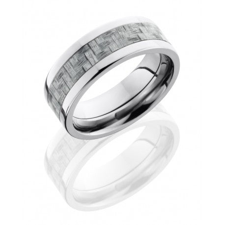 Lashbrook Titanium 8mm Flat Band with 4mm Silver Carbon Fiber inlay