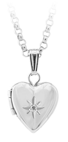 Childrens Silver Heart and Diamond Necklace