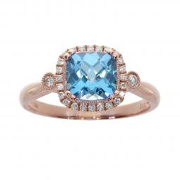 14K Rose Gold 7mm Cushion Blue Topaz 1.40tgw and Diamond .16tdw Ring